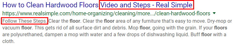 Organic search results example of cleaning hardwood floors search results title and description.