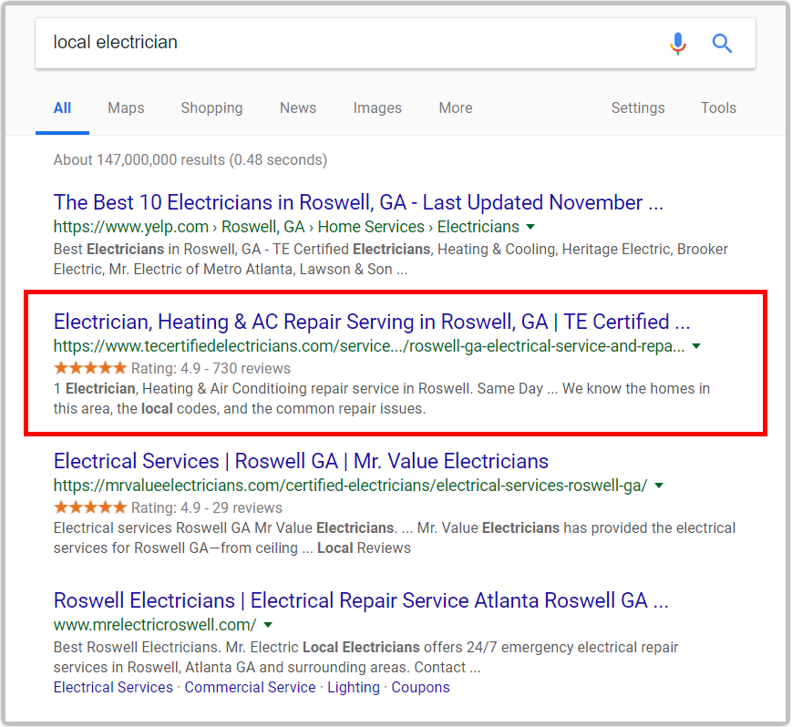 Example of a clear title and description in local Google Search results